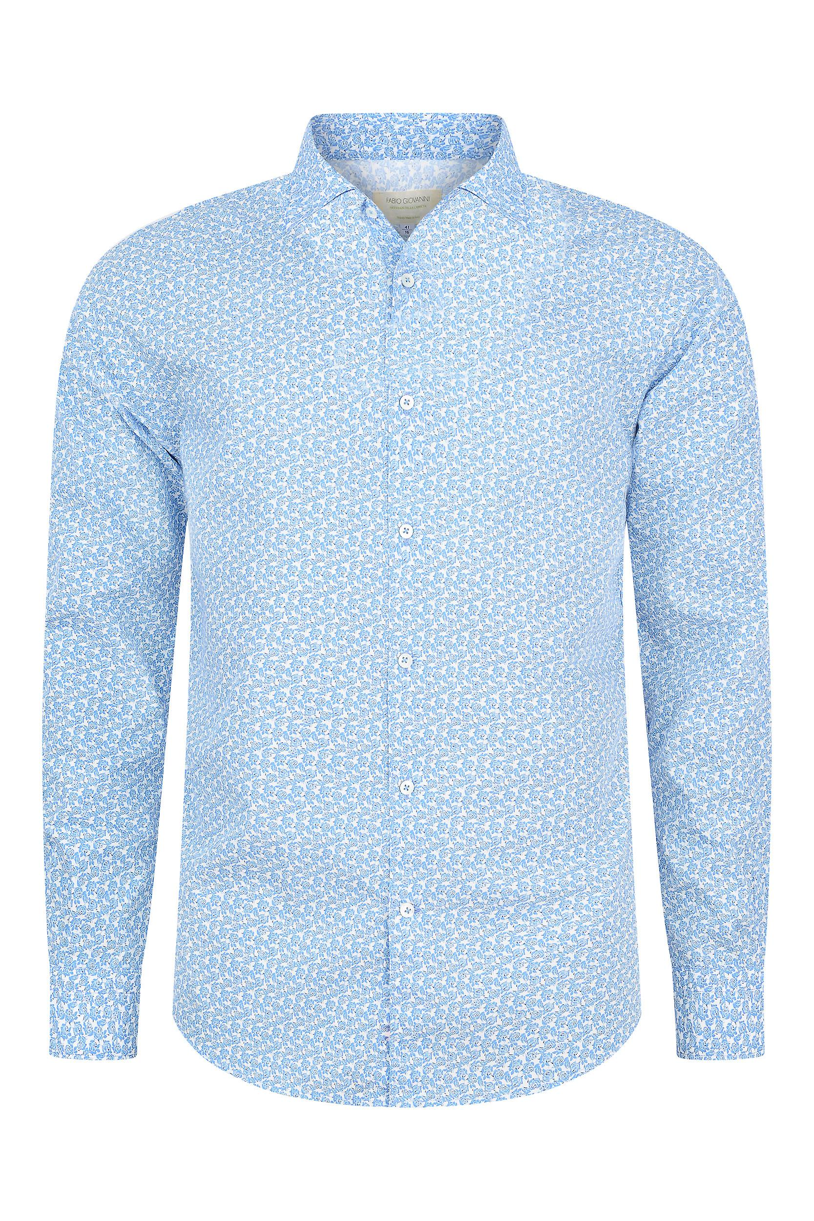 Fabio Giovanni Lucani Shirt - Mens Italian Casual Stylish Floral Shirt - Long Sleeve