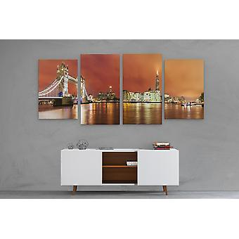 Large A1 A2 A3 Panel Panoramic Canvas Wall Art Painting of London Skyline City Scape for your Living Room Canvas Prints - Pictures