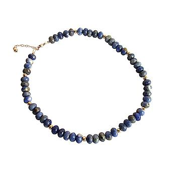 Gemshine - Women -Necklace - Gold plated - Lapis Lazuli - Faceted - Blue
