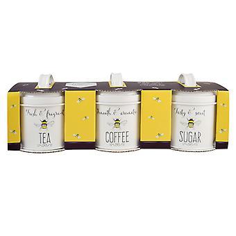 English Tableware Co. Bee Happy Tea Coffee and Sugar Tins