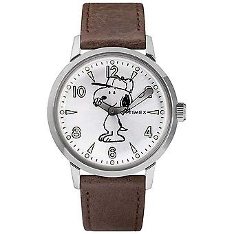 Timex Snoopy Welton Silver Dial Brown Leather Watch Strap TW2R94900