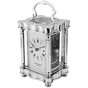 David Peterson Doucine 8 Day Mechanical Carriage Clock - Silver