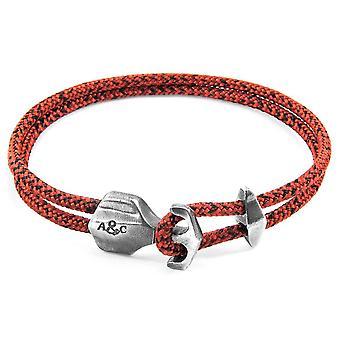 Kotva a posádky Delta Silver a lano náramok-Red Noir