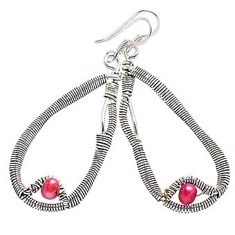 "Pink Cultured Pearl Earrings 2 1/4"" (925 Sterling Silver)  - Handmade Boho Vintage Jewelry EARR354575"