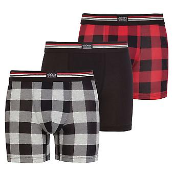 Jockey bomull Stretch 3-Pack Boxer Trunk, Hawaiian röd Check / svart / grå Check, stora