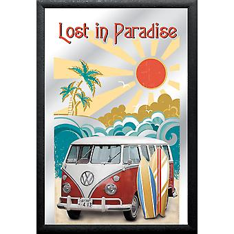Mirror VW Bulli T1 lost in Paradise VW license wall mirror print, colorful, plastic framing black, wood.