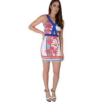 LMS vit tryckt Bodycon klänning med kontrasterande blå Hemline
