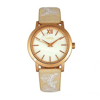 Bertha Penelope MOP Leather-Band Watch - Cream