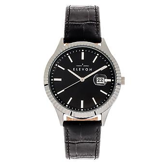 Elevon Concorde Leather-Band Watch w/Date - Silver/Black