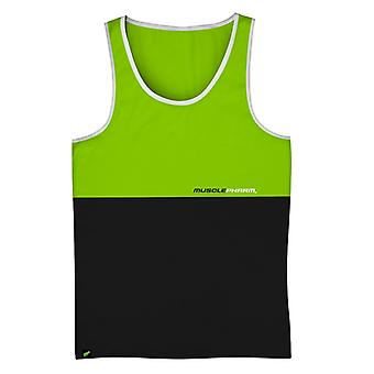 MusclePharm Mens MP Stacked Tank Top Shirt - Green/Black - gym fitness