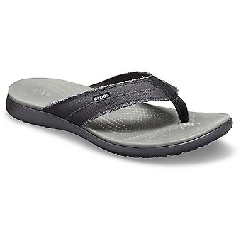 Crocs Mens Santa Cruz Canvas Slip On Flip Flop Sandals