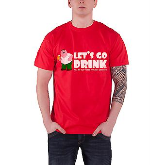 Official Family Guy T Shirt Peter Griffin Lets Go Drink Party logo Mens New Red