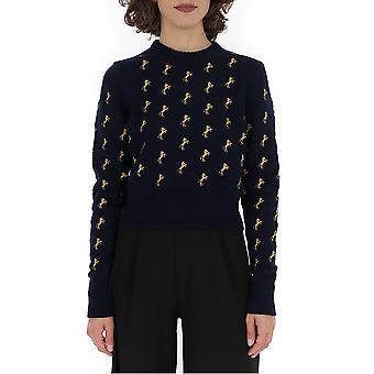 Chloé Chc19amp2066048b Women's Blue Wool Sweater