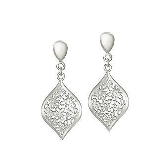 Ewige Sammlung Aster Silber Floral Drop Clip auf Ohrringe