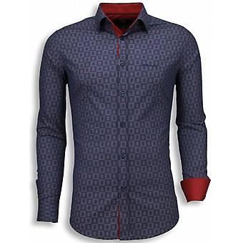 E Shirts - Slim Fit - Scale Pattern - Purple