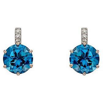 Elements Gold Topaz Earrings - Blue/Silver