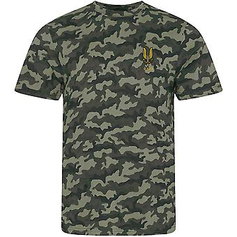 SAS Special Air Service C Sqn - Licensed British Army Embroidered Camouflage Print T-Shirt