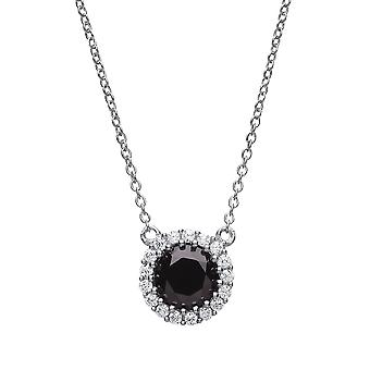 Jewelco London Ladies Rhodium Plated Silver Black Round cubic Zirconia Solitaire Halo Charm Necklace 16 + 2 inch