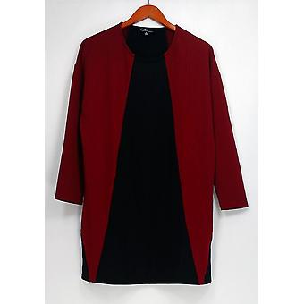 GK George Kotsiopoulos Top 3/4 Sleeve Color-BlockBurgundy Red / Black A267497