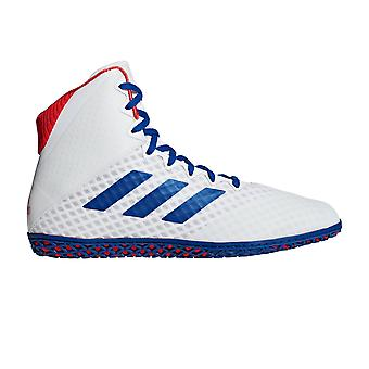 adidas Mat Wizard 4 Mens Adult Wrestling Trainer Shoe Boot White/Blue/Red