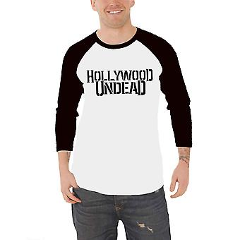 Hollywood Undead Baseball T Shirt Band Logo new Official Mens White 3/4 Sleeve