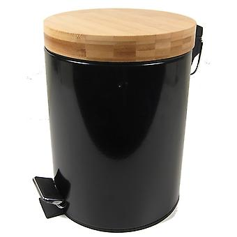 Pedalbucket 5L sort træ låg spand pedal trash