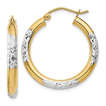 14k Yellow Gold Polished Hinged post and Rhodium Sparkle Cut 3x25mm Hoop Earrings Jewelry Gifts for Women