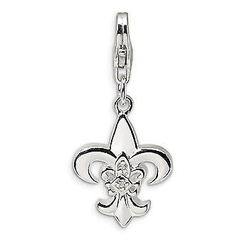 925 Sterling Silver Rhodium banhado Fancy Lobster Closure CZ Cubic Zirconia Simulated Diamond Polished Fleur de Lis With
