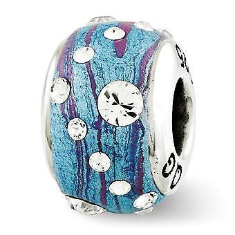 925 Sterling Silber poliert Finish Reflexionen blau geformt mit Kristall Perle Anhänger Anhänger Halskette Schmuck Geschenke für W