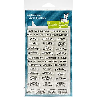 Lawn Fawn Reveal Wheel Friends & Family Sentiments Clear Stamps