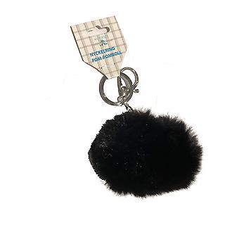Key Ring Pompons Ball Preto
