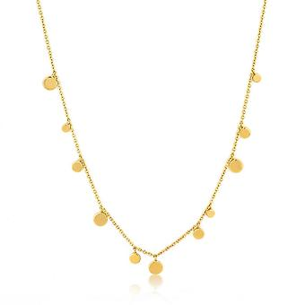 Ania Haie Silver Shiny Gold Plated Geometry Mixed Discs Necklace N005-01G