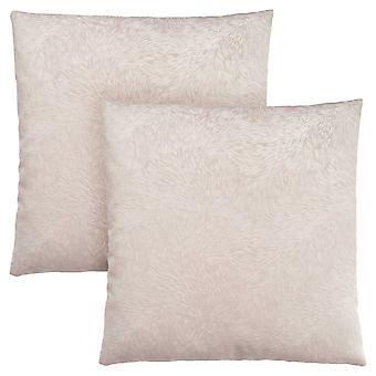 "18"" x 18"" Light Taupe, Feathered Velvet - Pillow 2pcs"