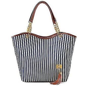 Designer Fashion Streifen Einzel-Schulter Leinwand-Tasche tote Handtasche