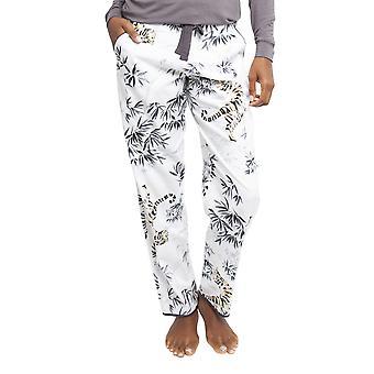 Cyberjammies 4344 Women's Willow White Tiger Print Cotton Pyjama Pant