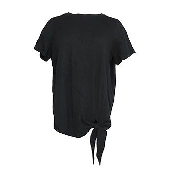 Anybody Women's Top Cozy Knit Tie Front Black A306960