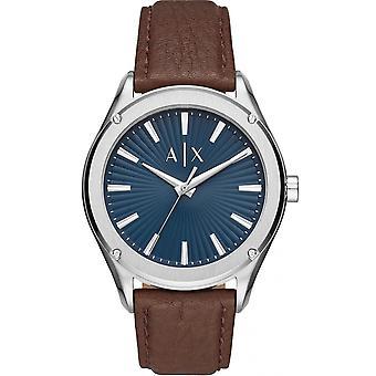 Armani Exchange AX2804 klocka-silver stål läderarmband brun blå urtavla
