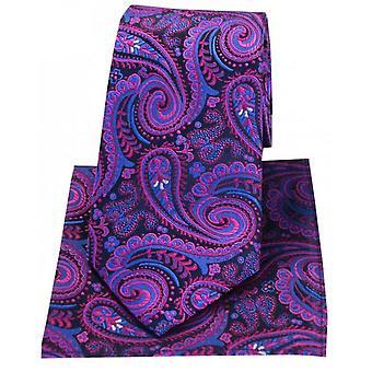 Posh and Dandy Swirly Paisley Silk Tie and Hanky Set - Navy/Magenta Pink
