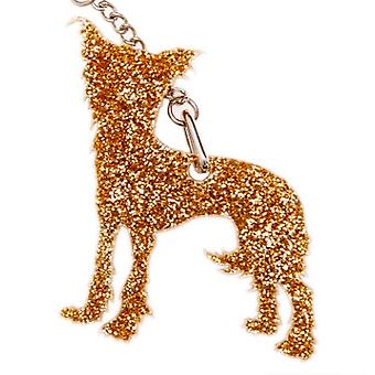Gold Glitter Chinese Crested Keyring
