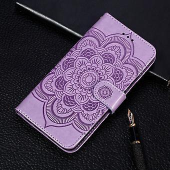Mandala Emboss Pattern Folio Leather Case for iPhone 11 Pro,Holder,Card Slots,Wallet,Photo Frame,Lanyar,Purple