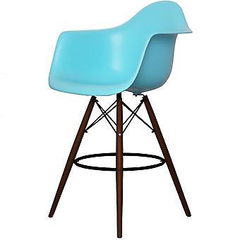 Charles Eames Style Pearl Blue Plastic Bar Sgabello con braccia - Gambe di noce
