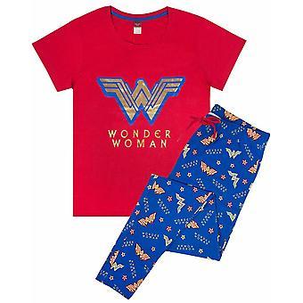 Wonder Woman Logo Femei's Maneca scurta / Lounge Pantaloni pijama set