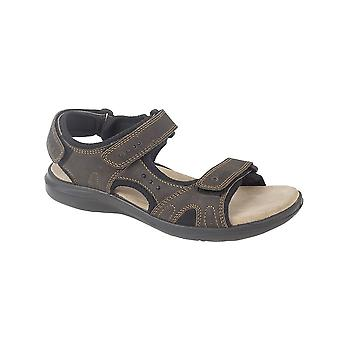 Roamers Brown Crazy Horse Leather 3 Touch Fastening Sports Sandal