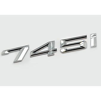 Silver Chrome BMW 745i Car Model Rear Boot Number Letter Sticker Decal Badge Emblem For 7 Series E38 E65 E66E67 E68 F01 F02 F03 F04 G11 G12