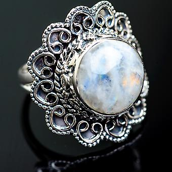 Large Rainbow Moonstone Ring Size 8.25 (925 Sterling Silver)  - Handmade Boho Vintage Jewelry RING995377
