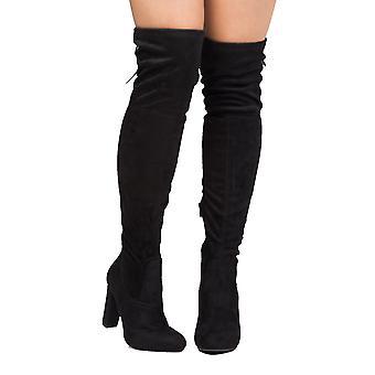 Alta sobre el rodilla Tie nuevo gamuza botas negro