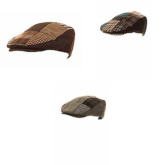 Mens Patchwork Winter Flat Cap With Wool