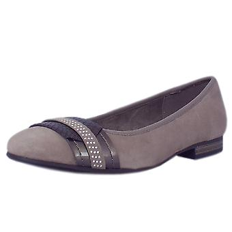 JAN Vacation Modern Wide Fit Ballet Pump In Taupe Suede
