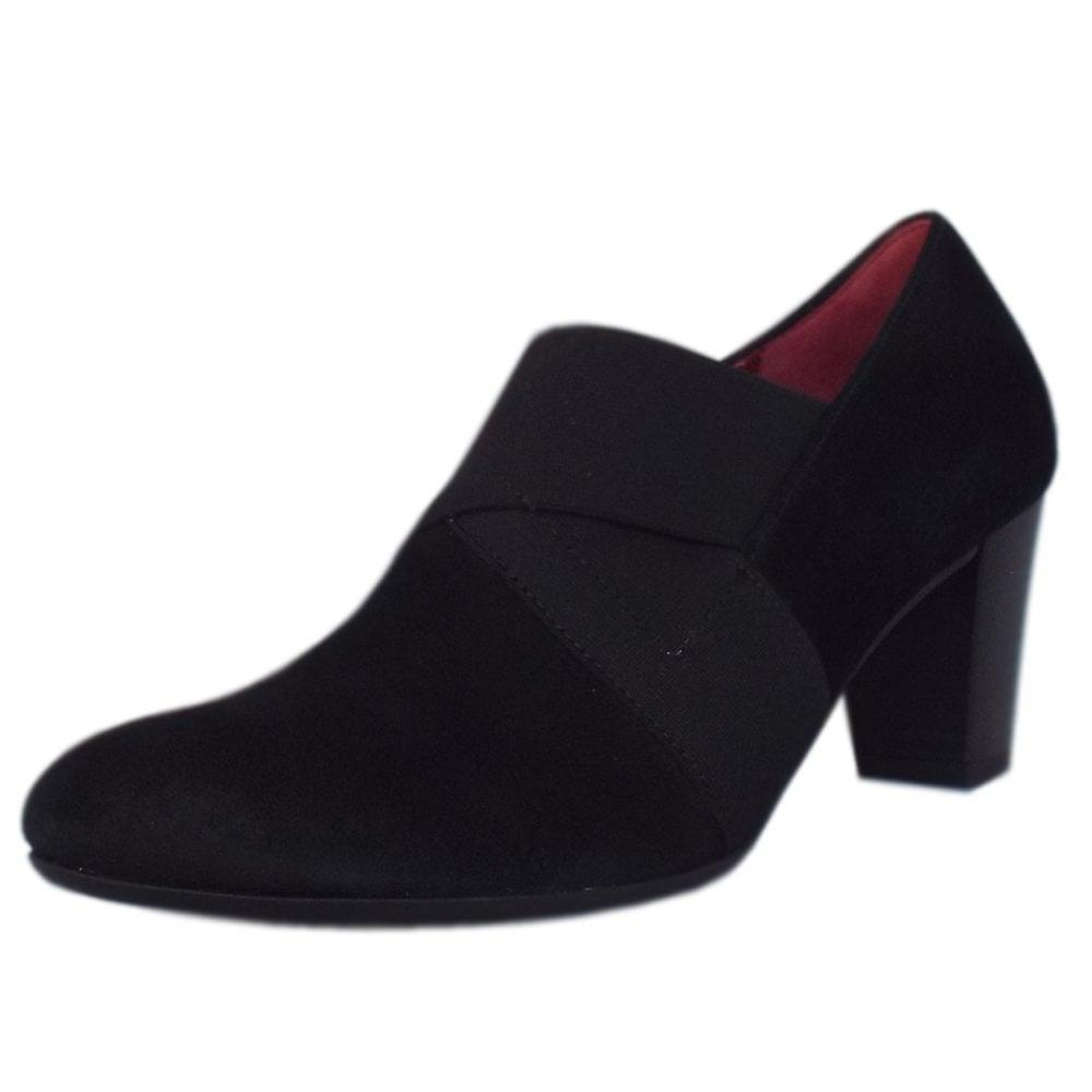 Gabor Function Mid Heel High Cut Court Shoes In Black Suede 2vp82
