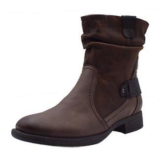 Jana Soft Line 25460 Appleyard Biker Style Wide Fit Boots In Cafe